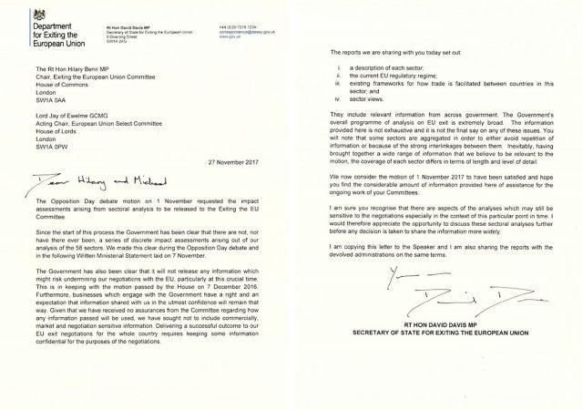 Letter issued by the Brexit Select Committee from David Davis to Hilary Benn
