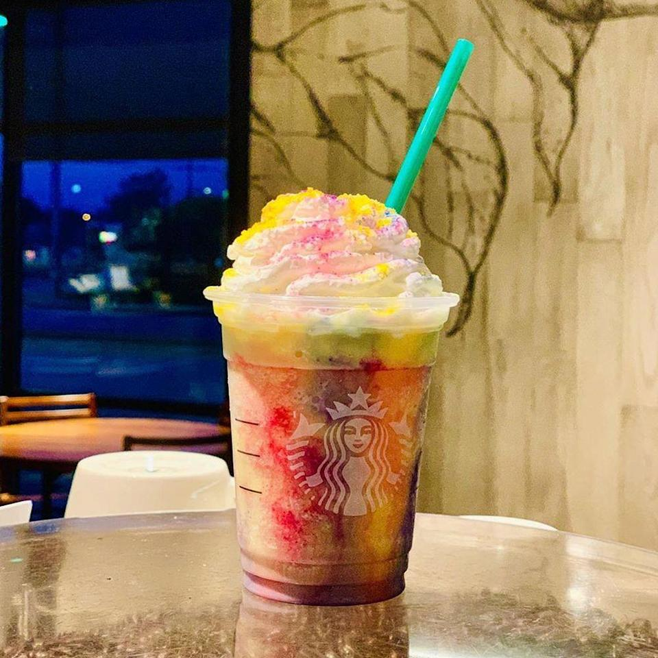 """<p>Mark your calendar for July 10! The Tie-Dye Frappuccino, which has been rumored to be coming out, is officially hitting Starbucks menus for just a few days.</p><p>""""This deliciously fruity drink is vibrant with <a href=""""https://www.starbucks.com/menu/drinks/frappuccino-blended-beverages/tie-dye-frappuccino-blended-beverage-cr%C3%A8me"""" rel=""""nofollow noopener"""" target=""""_blank"""" data-ylk=""""slk:red, blue, and yellow tie-dye swirls"""" class=""""link rapid-noclick-resp"""">red, blue, and yellow tie-dye swirls</a>, topped with vanilla whipped cream, and dusted with red, blue, and yellow powder,"""" the description says.</p><p>The limited-edition sip is said to <a href=""""https://www.instagram.com/p/Bzk_-SPBPEI/"""" rel=""""nofollow noopener"""" target=""""_blank"""" data-ylk=""""slk:taste like a banana Laffy Taffy"""" class=""""link rapid-noclick-resp"""">taste like a banana Laffy Taffy</a>, which is a flavor we can totally get behind.</p>"""