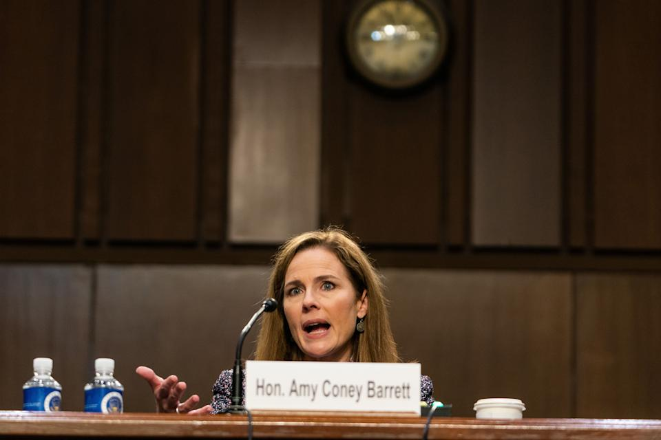 Supreme Court nominee Amy Coney Barrett during the Senate Judiciary Committee hearing on Oct. 14. (Photo: The Washington Post via Getty Images)