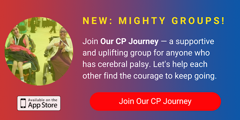 A banner promoting The Mighty's new Our CP Journey group on The Mighty mobile app. Click to join.