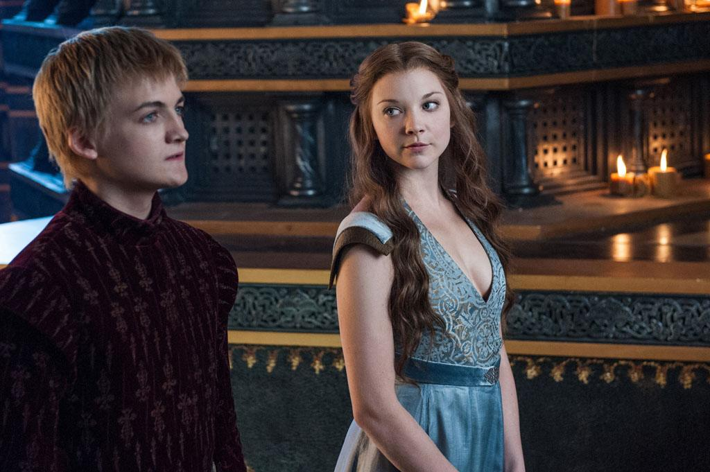 "Jack Gleeson and Natalie Dormer in the ""Game of Thrones"" Season 3 episode, ""And Now His Watch Is Ended."""