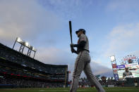 Atlanta Braves' Freddie Freeman walks to the on-deck circle during the fourth inning of the team's baseball game against the San Francisco Giants in San Francisco, Saturday, Sept. 18, 2021. (AP Photo/Jeff Chiu)