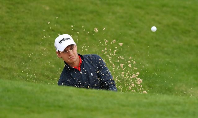 Golf - European Tour - BMW PGA Championship - Wentworth Club, Virginia Water, Britain - May 24, 2018 Sweden's Joakim Lagergren plays out of a bunker during the first round Action Images via Reuters/Peter Cziborra