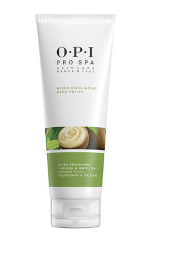 """<h2>OPI ProSpa Micro-Exfoliating Hand Polish<br></h2>The gentlest way to polish and brighten dull, dry skin: this exfoliator with micro grains that's formulated with vitamin C and cupuaçu butter to condition and soften hands. <br><br><br><strong>OPI</strong> Pro Spa Micro-exfoliating Hand Polish, $, available at <a href=""""https://go.skimresources.com/?id=30283X879131&url=https%3A%2F%2Fwww.ulta.com%2Fprospa-micro-exfoliating-hand-polish%3FproductId%3DxlsImpprod17421197"""" rel=""""nofollow noopener"""" target=""""_blank"""" data-ylk=""""slk:Ulta Beauty"""" class=""""link rapid-noclick-resp"""">Ulta Beauty</a>"""