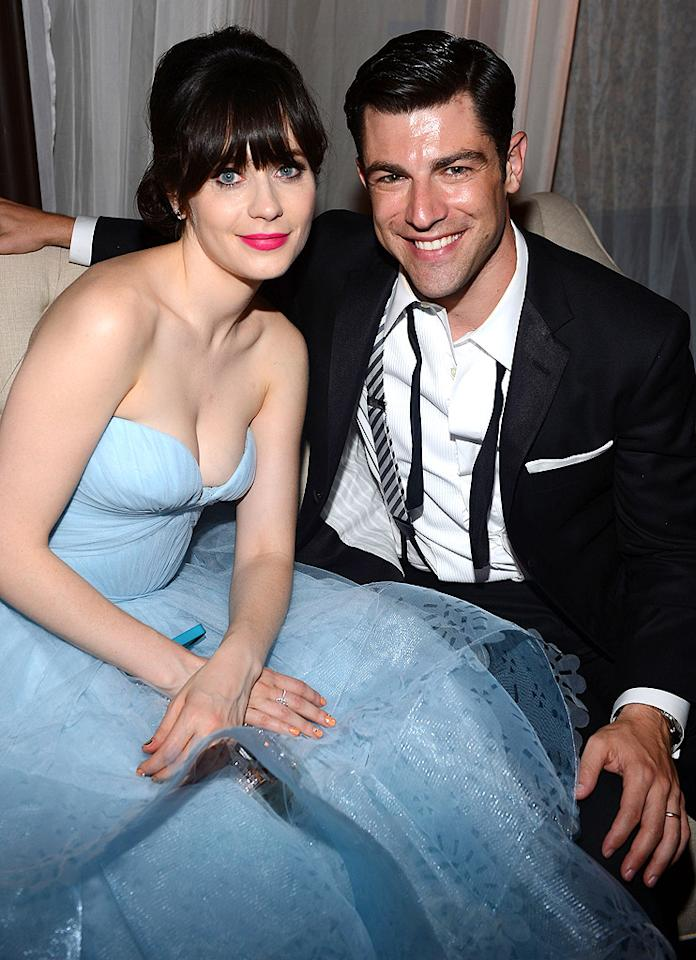 Zooey Deschanel and Max Greenfield attend FOX Broadcasting Company, Twentieth Century FOX Television and FX post Emmy party at Soleto on September 23, 2012 in Los Angeles, California.  (Photo by Mark Davis/Getty Images for FOX)