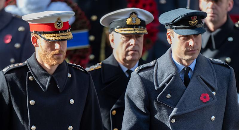 LONDON, ENGLAND - NOVEMBER 11: Prince William, Duke of Cambridge and Prince Harry, Duke of Sussex with Prince Andrew, Duke of York during the annual Remembrance Sunday memorial at the Cenotaph on November 11, 2018 in London, England. (Photo by Mark Cuthbert/UK Press via Getty Images)