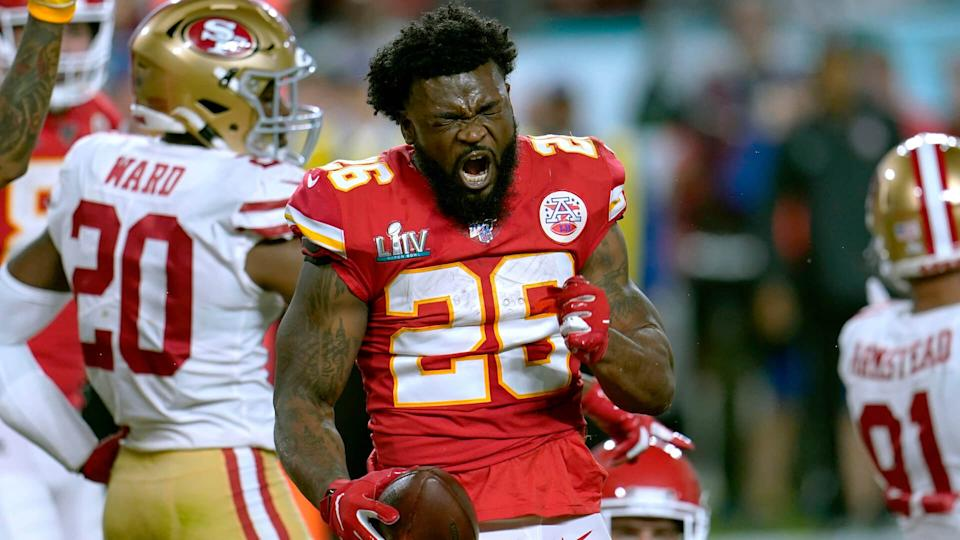 Mandatory Credit: Photo by David J Phillip/AP/Shutterstock (10546401eq)Kansas City Chiefs running back Damien Williams celebrates after a run against the San Francisco 49ers during the first half of the NFL Super Bowl 54 football game, in Miami Gardens, Fla49ers Chiefs Super Bowl Football, Miami Gardens, USA - 02 Feb 2020.
