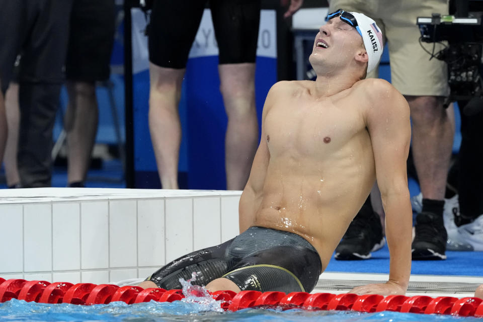 Chase Kalisz, of the United States, reacts after winning the final of the men's 400-meter individual medley at the 2020 Summer Olympics, Sunday, July 25, 2021, in Tokyo, Japan.