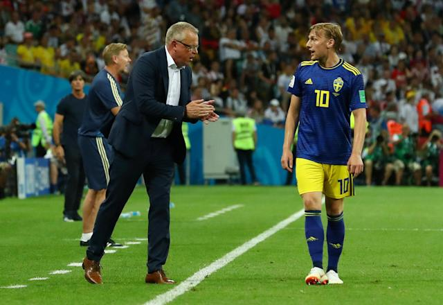 Soccer Football - World Cup - Group F - Germany vs Sweden - Fisht Stadium, Sochi, Russia - June 23, 2018 Sweden coach Janne Andersson and Emil Forsberg REUTERS/Pilar Olivares