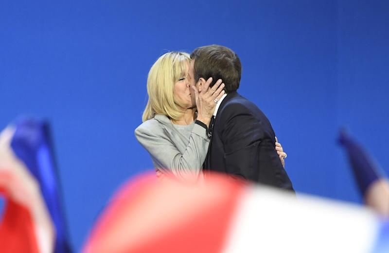 Mme Macron is now 64 and her husband is 39, the same age she was when they first shared a kiss over two decades ago: AFP/Getty Images