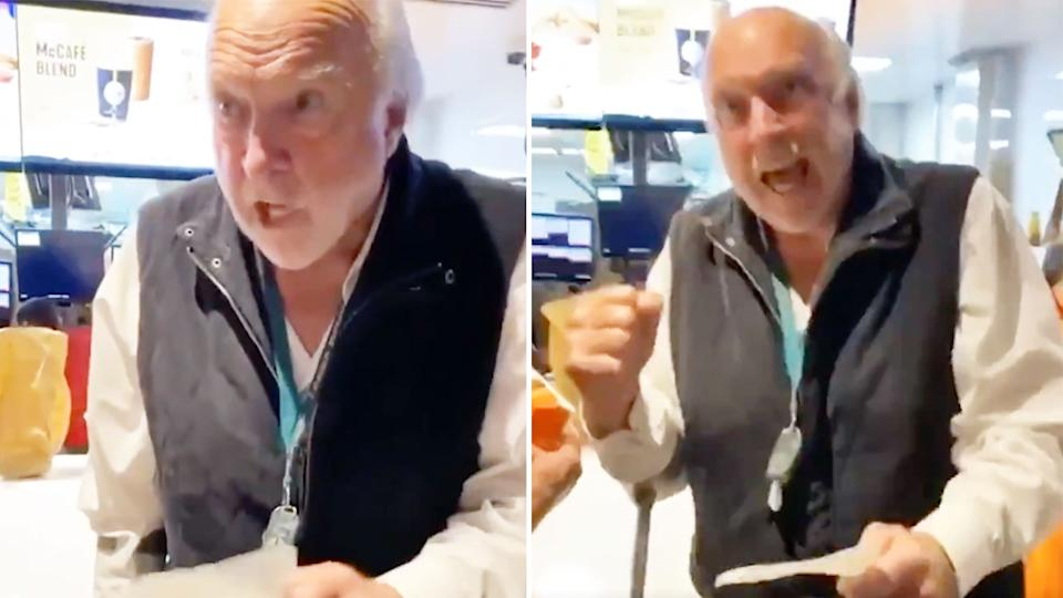 Pictured here, Rex Hunt belts out a famous AFL call at a McDonalds restaurant.