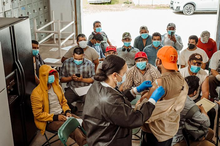Tennessee health department staff vaccinate workers at Jones and Church Farms onJune1