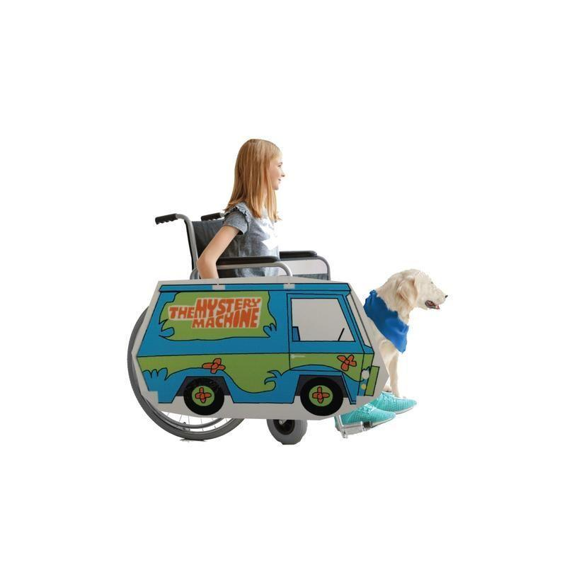 """<p><strong>RollingBuddies</strong></p><p>etsy.com</p><p><strong>$40.00</strong></p><p><a href=""""https://go.redirectingat.com?id=74968X1596630&url=https%3A%2F%2Fwww.etsy.com%2Flisting%2F723985802%2Frolling-buddies-mystery-machine&sref=https%3A%2F%2Fwww.goodhousekeeping.com%2Fholidays%2Fhalloween-ideas%2Fg33632924%2Fadaptive-wheelchair-halloween-costumes%2F"""" rel=""""nofollow noopener"""" target=""""_blank"""" data-ylk=""""slk:Shop Now"""" class=""""link rapid-noclick-resp"""">Shop Now</a></p><p>DIY a Daphne, Fred, Velma, Shaggy or even a Scooby Doo costume to go with this Mystery Machine wheelchair cover, and then go out and be one of the meddling kids. When Halloween is done, this cover rolls up for easy storage. </p>"""