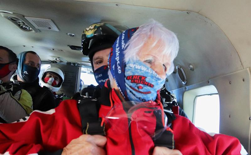 Patricia Baker moments before her skydive. (SWNS)