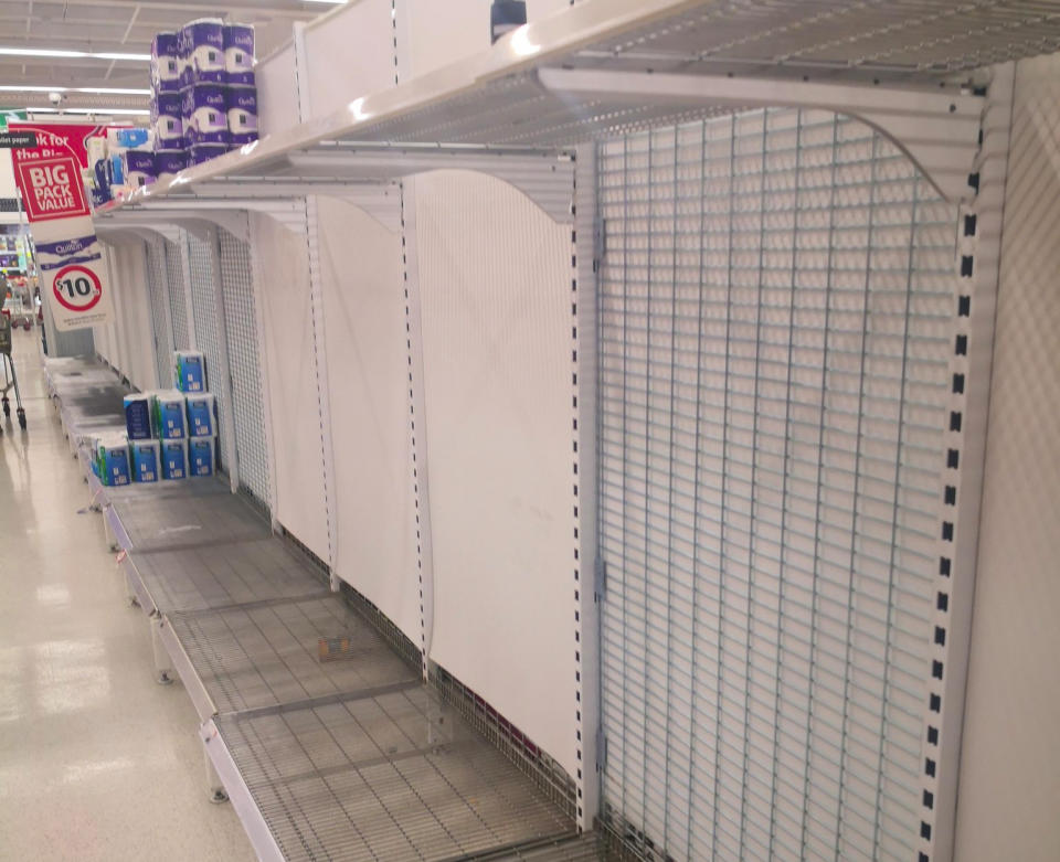 An empty toilet paper shelf at a Coles store in Warradale, South Australia.