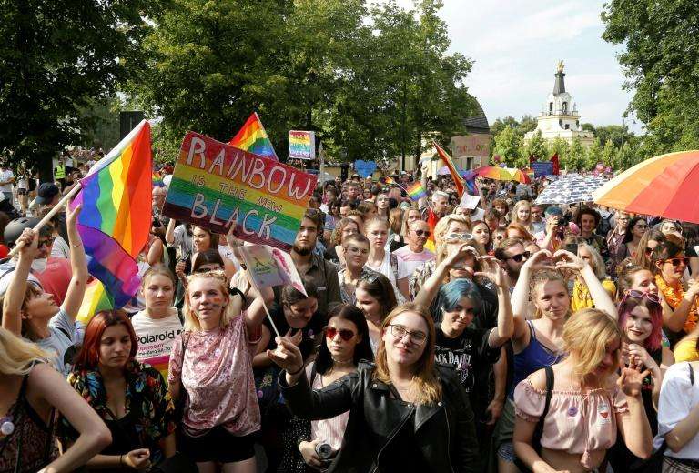 Violence marred the first gay pride parade in the eastern Polish city of Bialystok last month where football hooligans, some with far-right sympathies, attacked marchers and police (AFP Photo/Jerzy Baliski)