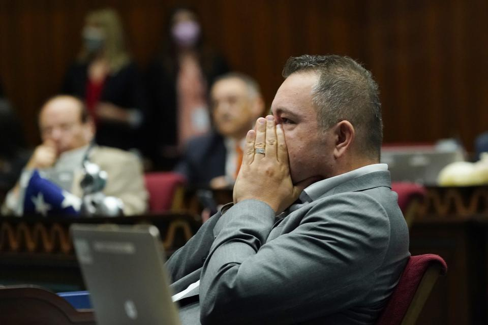 Arizona House Majority Leader Ben Toma, R-Peoria, pauses at his desk during a vote on the Arizona budget Thursday, June 24, 2021, in Phoenix. (AP Photo/Ross D. Franklin)