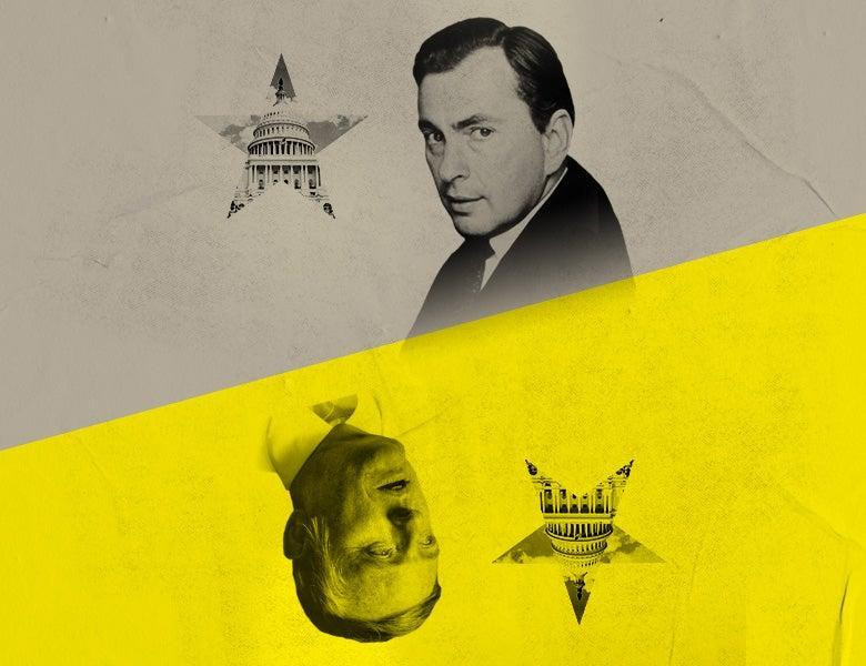 <p>A poster for Best of Enemies at the Young Vic showing US political pundits Gore Vidal and William F Buckley</p> (Young Vic)