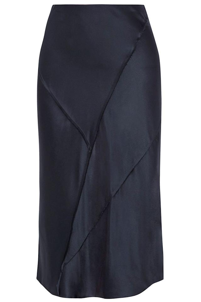 "<p><a class=""body-btn-link"" href=""https://www.net-a-porter.com/gb/en/product/1057650/Vince/paneled-silk-satin-midi-skirt-"" target=""_blank"">SHOP NOW</a></p><p>If you want to keep it versatile, opt for this elegant navy style.</p><p><em>Satin skirt, was £280, now £196, Vince at Net-a-Porter</em> </p>"