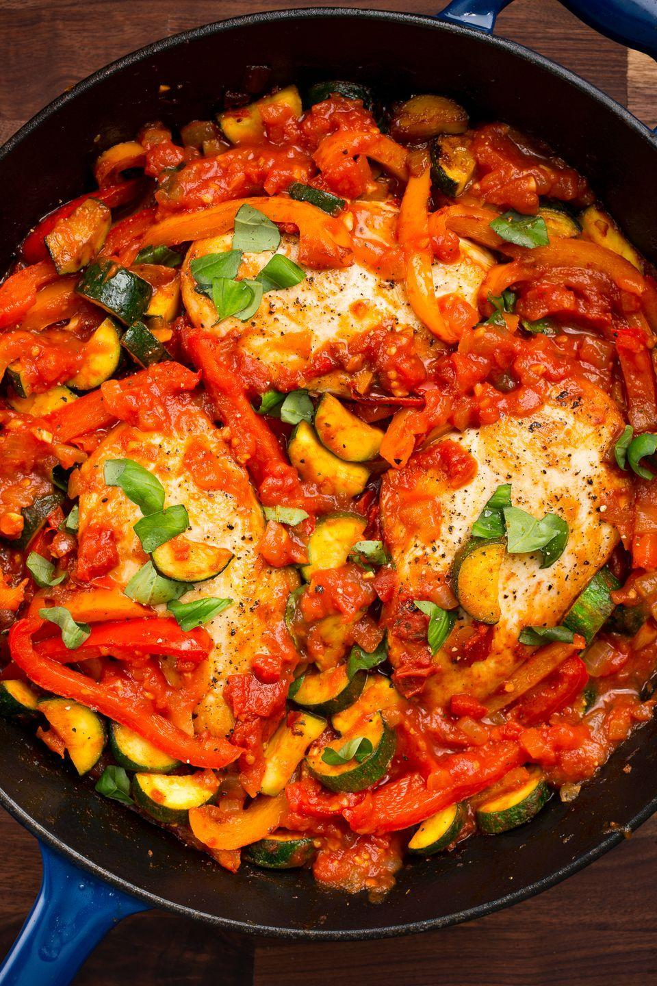 """<p>The idea of making dinner for two is to keep it simple but have it still taste special. This dish does the job. </p><p>Get the recipe from <a href=""""https://www.delish.com/cooking/recipe-ideas/recipes/a47442/italian-chicken-skillet-recipe/"""" rel=""""nofollow noopener"""" target=""""_blank"""" data-ylk=""""slk:Delish"""" class=""""link rapid-noclick-resp"""">Delish</a>. </p>"""