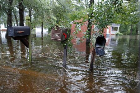 Floodwater rises on mailboxes in the Mayfair community during Tropical Storm Florence in Lumberton, North Carolina, U.S. September 16, 2018.  REUTERS/Randall Hill