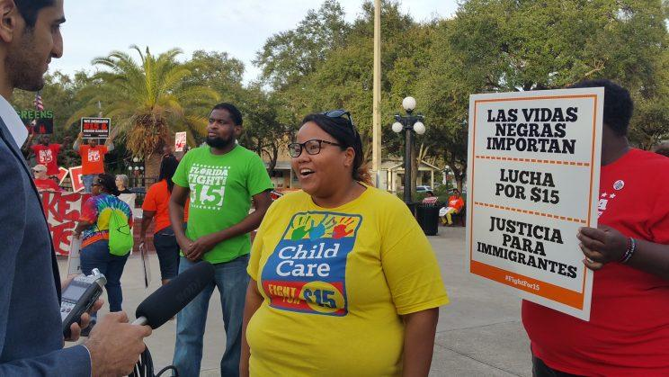 Dayla Mikell joins a protest in Tampa, Florida. (Photo: Courtesy of Fight for $15)