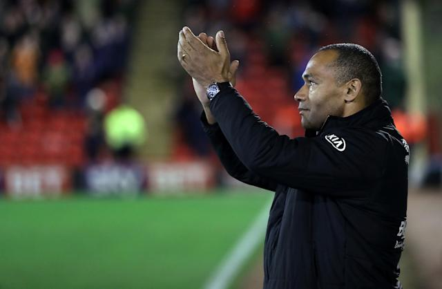 "Soccer Football - Championship - Barnsley vs Burton Albion - Oakwell, Barnsley, Britain - February 20, 2018 Barnsley manager Jose Morais is introduced to the fans before the match Action Images/John Clifton EDITORIAL USE ONLY. No use with unauthorized audio, video, data, fixture lists, club/league logos or ""live"" services. Online in-match use limited to 75 images, no video emulation. No use in betting, games or single club/league/player publications. Please contact your account representative for further details."