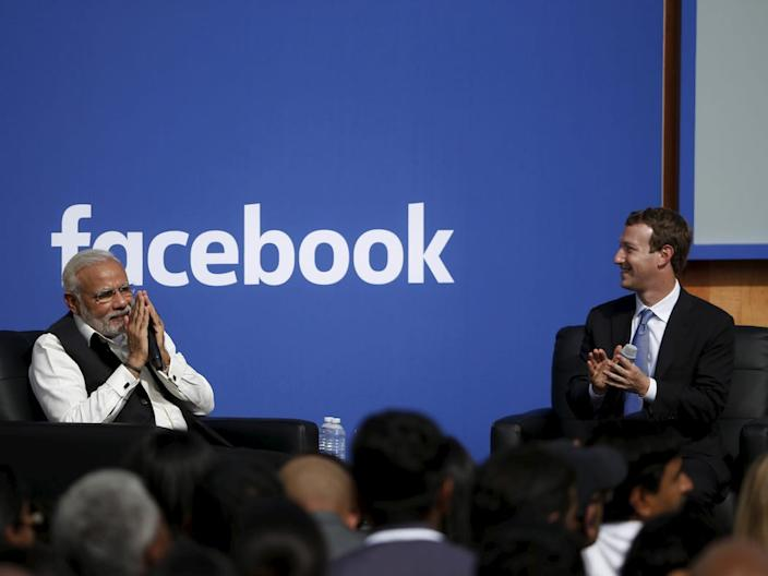 Indian Prime Minister Narendra Modi and Facebook CEO Mark Zuckerberg.