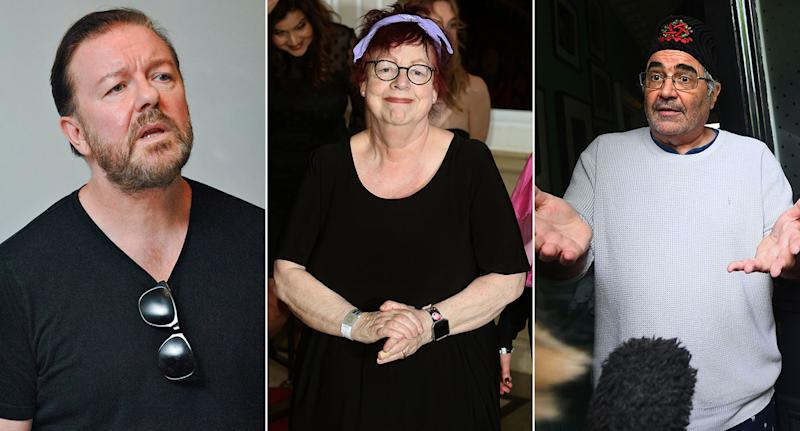 Ricky Gervais, Jo Brand and Danny Baker.