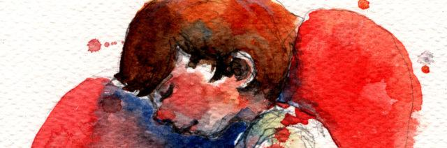 Watercolor image of boy hugging his knees lying on a heart background