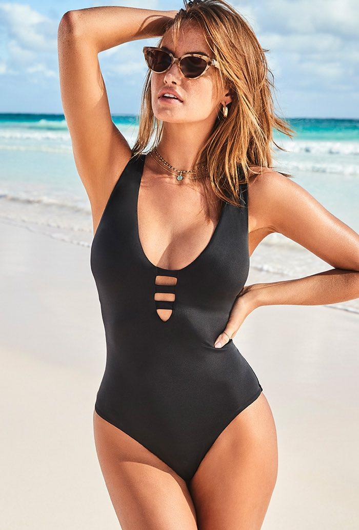 Black Strappy Scoopneck One PIece Swimsuit. Image via Swimsuits for All.