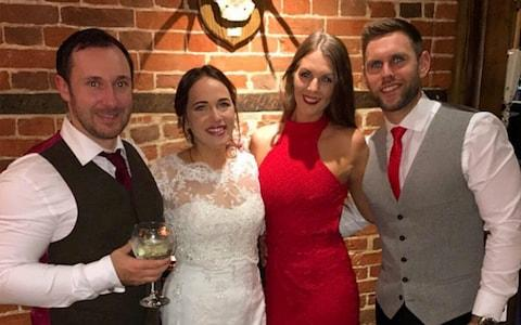 Becky Dobson and Stuart Hill attended the wedding of Ellie Milward and Jonathan Udall last year - Credit: Caters News Agency