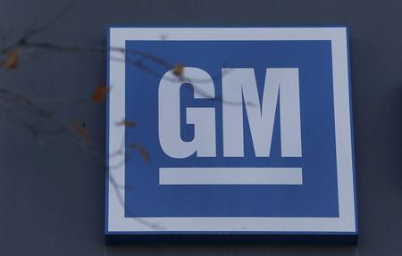 FILE PHOTO: The GM logo is seen at the General Motors Lansing Grand River Assembly Plant in Lansing, Michigan October 26, 2015. REUTERS/Rebecca Cook/File Photo