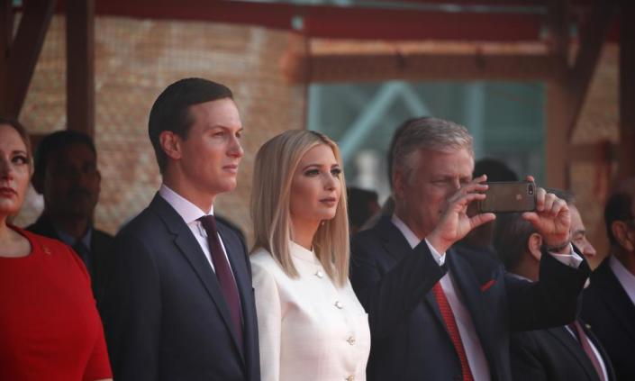 """<span class=""""element-image__caption"""">Jared Kushner and his wife, Ivanka Trump. The president's son-in-law has mostly shied from the public stage, but he now is working in history's spotlight.</span> <span class=""""element-image__credit"""">Photograph: Alex Brandon/AP</span>"""