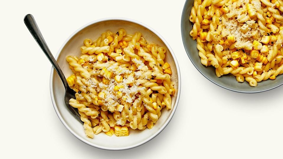 """If you've been trying to squeeze some corn into every meal while it's local and sweet, this pasta dish is worth getting into your rotation. <a href=""""https://www.epicurious.com/recipes/food/views/corn-cacio-e-pepe?mbid=synd_yahoo_rss"""" rel=""""nofollow noopener"""" target=""""_blank"""" data-ylk=""""slk:See recipe."""" class=""""link rapid-noclick-resp"""">See recipe.</a>"""