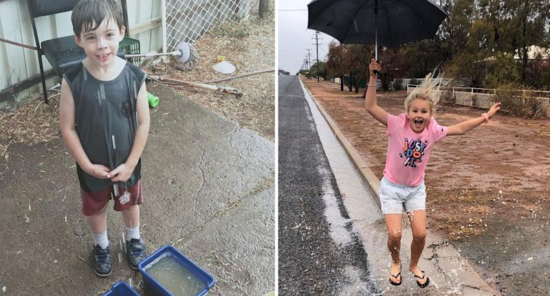 Kids shown playing in the rain as storm dumps up to 50mm on parts of NSW on Sunday.