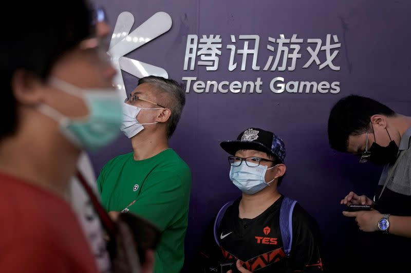 FILE PHOTO: Tencent Games sign is seen at the China Digital Entertainment Expo and Conference (ChinaJoy) in Shanghai