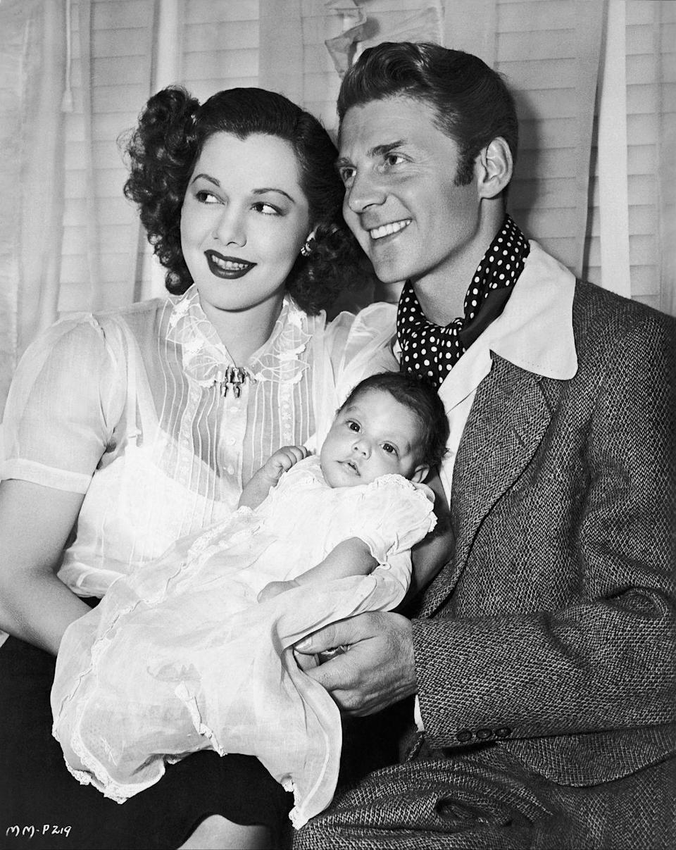 <p>Maria looks polished in a chiffon blouse for the announcement of her daughter's birth in 1946. The Dominican actress wed French actor Jean-Pierre Aumont in 1943, before the arrival of their child, Maria Christina Aumont.</p>