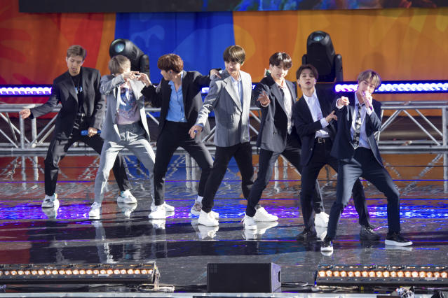 "South Korean boy band BTS perform on ABC's ""Good Morning America at Rumsey Playfield/SummerStage in Central Park on Wednesday, May 15, 2019, in New York. (Photo by Scott Roth/Invision/AP)"