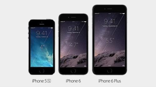 Size comparison: iPhone 5s, 6, and 6 Plus