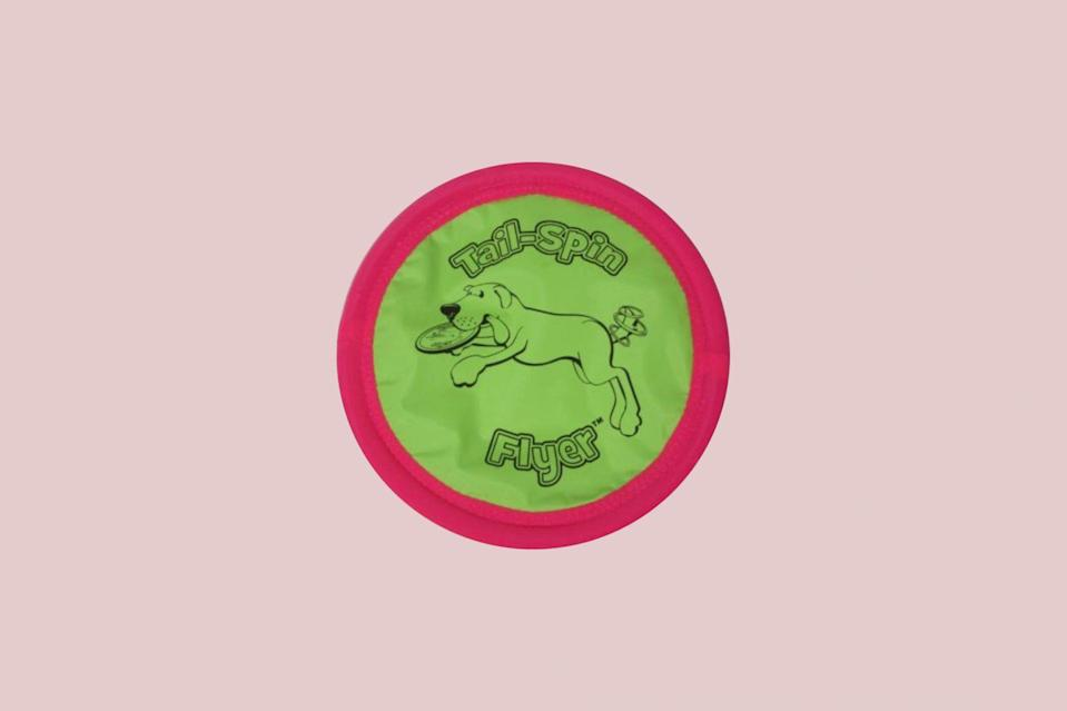 """<p>Dogs of all sizes love frisbees, which is why Burch suggests investing in a quality disc for your big pooch. """"A favorite game for many large dogs is chasing, catching and fetching a disc,"""" she explains. """"The Booda Tail-Spin Flyer is a soft, durable disc that's designed to not hurt your dog's mouth, teeth, or gums and can be used on the ground or for water retrieves.""""</p> <p><strong><em>Shop Now: </em></strong><em>Booda Big Daddy Tail Spin Flyer, 12"""", $17</em><em>, </em><a href=""""https://www.entirelypets.com/booda-tail-spin-flyer-big-daddy-12.html"""" rel=""""nofollow noopener"""" target=""""_blank"""" data-ylk=""""slk:entirelypets.com"""" class=""""link rapid-noclick-resp""""><em>entirelypets.com</em></a><em>. </em></p>"""