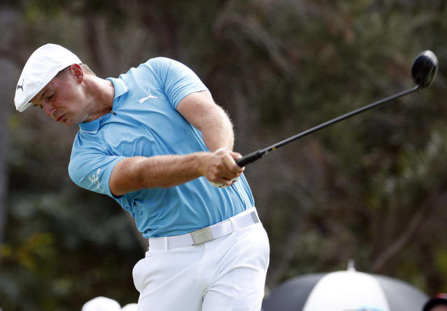 FILE - In this Sunday, Jan. 13, 2019, file photo, Bryson DeChambeau hits from the first tee during the final round of the Sony Open PGA Tour golf event at Waialae Country Club in Honolulu. He is among players headed to Saudi Arabia to play a new European Tour event at the end of the January. (AP Photo/Matt York, File)