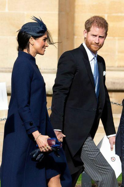 PHOTO: Britain's Prince Harry, Duke of Sussex, right, and Meghan, Duchess of Sussex, left, leave after the royal wedding ceremony of Princess Eugenie of York and Jack Brooksbank at St George's Chapel at Windsor Castle, in Windsor, Britain, Oct. 12, 2018. (Will Oliver/EPA via/Shutterstock)