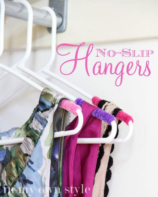 """<p>A few coils of pipe cleaner mean strappy tanks and slippery silk blouses won't wind up on the floor as you flip through them.</p><p><a href=""""http://inmyownstyle.com/2012/04/clothes-closet-hanger-organizing-trick.html"""" rel=""""nofollow noopener"""" target=""""_blank"""" data-ylk=""""slk:Get the tutorial at In My Own Style »"""" class=""""link rapid-noclick-resp""""><em>Get the tutorial at In My Own Style »</em></a></p>"""