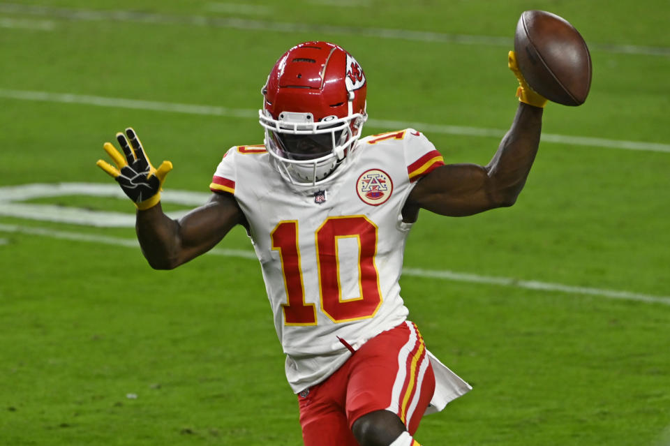 Kansas City Chiefs wide receiver Tyreek Hill (10) runs into the end zone for a touchdown against the Las Vegas Raiders during the first half of an NFL football game, Sunday, Nov. 22, 2020, in Las Vegas. (AP Photo/David Becker)