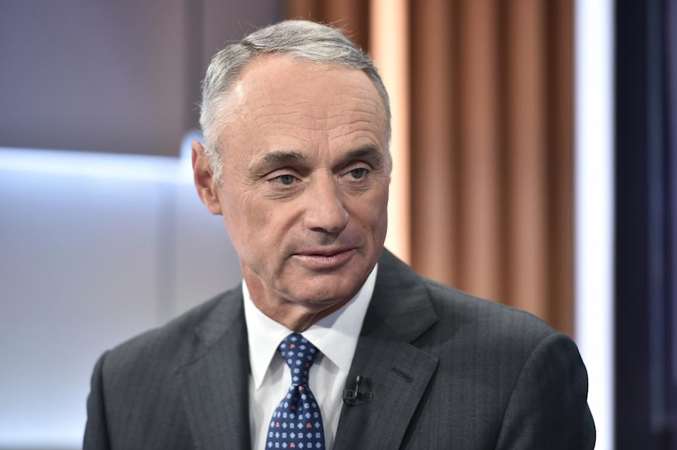 Rob Manfred didn't like that the media had so many questions about the Astros sign-stealing scandal. (Photo by Steven Ferdman/Getty Images)