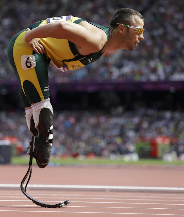 FILE - In this Saturday, Aug. 4, 2012 file photo South Africa's Oscar Pistorius prepares to compete in a men's 400-meter heat during the athletics in the Olympic Stadium at the 2012 Summer Olympics, London. Ahead of Pistorius' murder trial, starting Monday, March 3, 2014, legal experts say Pistorius would still be vulnerable to a homIcide conviction even if he is acquitted of murdering his girlfriend Reeva Steenkamp. South Africa's (AP Photo/Anja Niedringhaus-File)