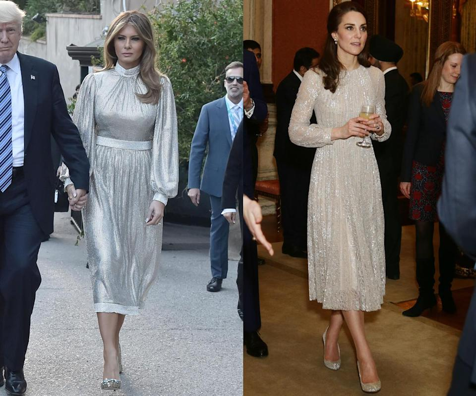 <p>In February, the Duchess of Cambridge attended an event at Buckingham Palace wearing a sparkly dress with long sleeves and knee-length hem. Then, in May, Melania Trump opted for a strikingly similar look to attend a concert in Italy. (Photos: Getty Images) </p>