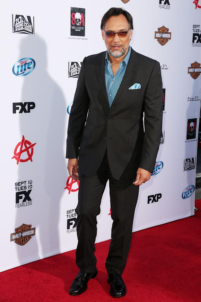 "HOLLYWOOD, CA - SEPTEMBER 07: Actor Jimmy Smits attends the Premiere of FX's ""Sons of Anarchy"" Season 6 at the Dolby Theatre on September 7, 2013 in Hollywood, California. (Photo by Frederick M. Brown/Getty Images)"