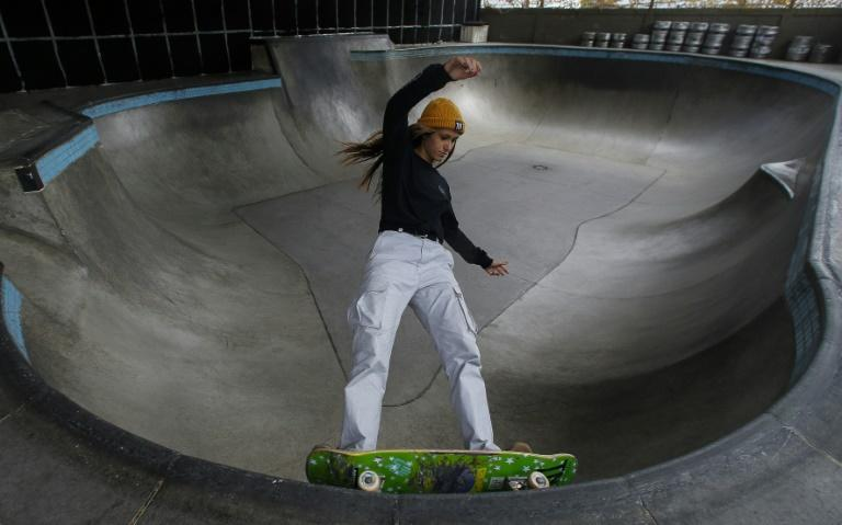 Brazilian skateboarder Dora Varella, who was on the Olympic team in Tokyo, says seeing all the young girls take up the sport is rewarding (AFP/Miguel SCHINCARIOL)
